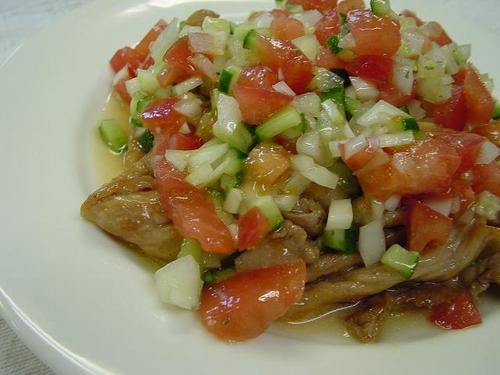 豚肉の野菜マリネソース